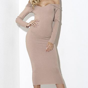 Get On Top Long Sleeve Ribbed Off The Shoulder V Neck Bodycon Midi Dress - 3 Colors Available