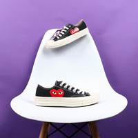 Comme des GARÇONS CDG Play x Converse Chuck 70 Low Black Canvas Sneakers - Best Deal Online