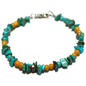 OOAK Turquoise and Mustard Beaded Bracelet by chumaka on Etsy