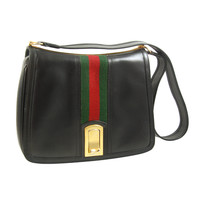 Vintage Gucci Black Shoulder Bag circa 1970's