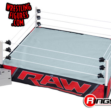 WWE Authentic Scale Wrestling Ring w/ Raw & Smackdown Ring Skirts | Ringside Collectibles
