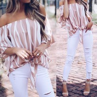 Stylish Women Summer Off Shoulder Chiffon Shirt Casual Blouse Top Breathable