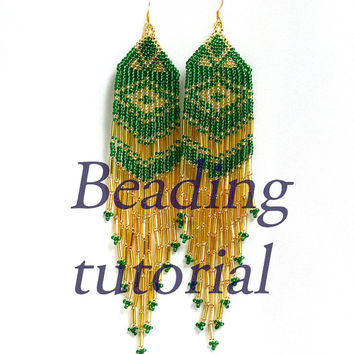 Native American beaded  Earrings inspired. Beaded jewelry. Beadwork. Simple Beading tutorial.