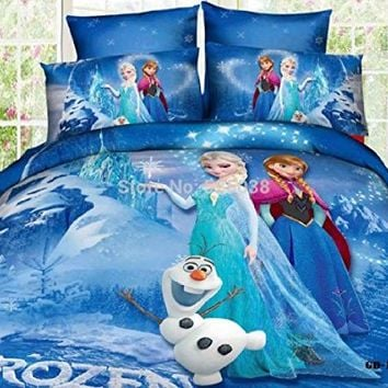 Core Tech Frozen Comforter Set! Duvet Cover Flat Sheet and 2x Pillow Cases. Disneys Frozen Queen Elsa Comforter Set Covers (Queen, Twin, King, Full). Princess Elsa Anna Frozen Cartoon Bedding Set Flat Sheet Queen/twin Size Duvet Cover Bed Sheet Pillow Case
