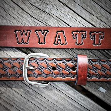 Kid's Leather Belt , BASKETWEAVE BELT, cowboy belt, Name Engraved Free!
