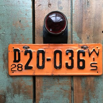 1920s License Plate With Tail Light, Vintage License Plate Topper and 1928 Wisconsin License Plate