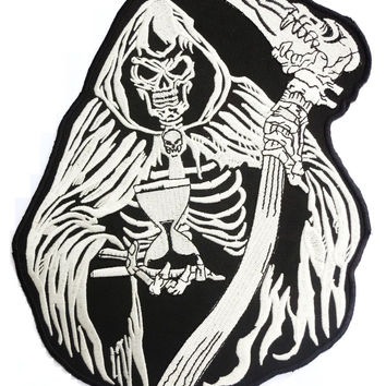 "GRIM REAPER Hour Glass Biker Embroidered Big Back Patch 9.6""/24cm"