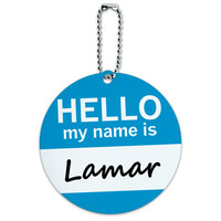 Lamar Hello My Name Is Round ID Card Luggage Tag
