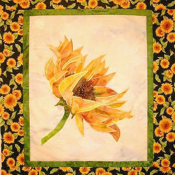 Golden Sunflower Quilt Pattern, Applique Embellished with Hot Ribbon, Wall Hanging Pattern