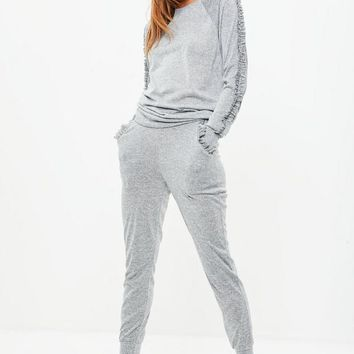 Missguided - Grey Frill Shoulder Lounge Set