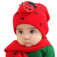 Demarkt Knitting Wool Winter Warm Babys Girls Boys Cap Hat with Scarf  two-piece set = 1958159812