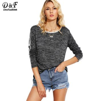 Grey Marled Knit Contrast Binding Tops Women Round Neck Long Sleeve Tees Autumn Casual T-shirt