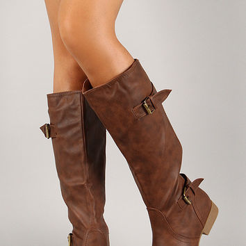 Buckle Round Toe Riding Mid Calf Boot