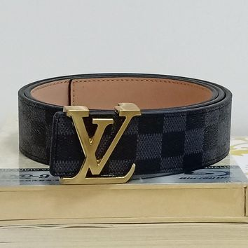 LV Louis Vuitton tide brand men and women models simple fashion smooth buckle belt black check
