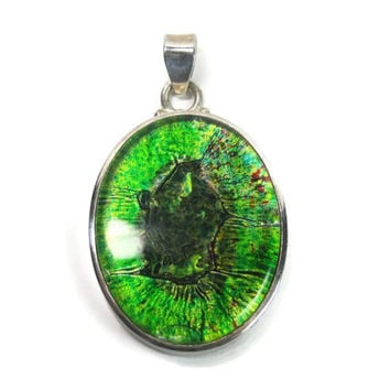 Large Vintage Green Dichroic Glass Pendant Sterling