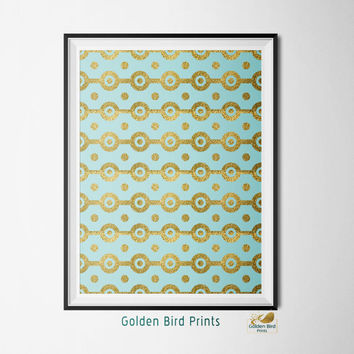 Turquoise Gold Glitter Geometric Pattern - Printable Wall Art - Art Print - Digital Art Printable - Home Decor - Instant Download