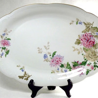 Large Serving Platter, Vintage Floral Platter, Oval Plate, Antique Wawel China Off White Pink Flower Gold Rim