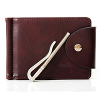 Money Clips Men Wallets Brand Designer PU Leather 2 folds Open Clamp For Money With Card Slot carteras hombre--BID128 PM49