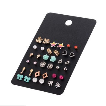 2017 New Fashion Accessories Stud earring Sets 18 pairs/pack Bird Stars Cross Flower Love Heart Gifts earring set for women