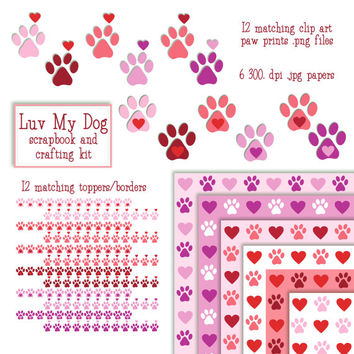 paw print heart clip art, valentine digital paper, pet clipart, paw parint clipart, heart clip art DIGITAL DOWNLOAD, SB-86