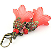 Medieval bells - Large red lucite flowers brass earrings - Vintage style
