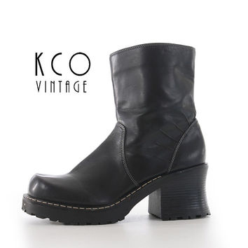 Black Platform Boots Size 8.5 Vegan Leather 90's Vintage Ankle Boot / Chunky Block Heel Shoes Biker Goth Women's US 8.5 / UK 7.5 / EUR 39-40