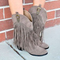 CowGirl Fringed Boots Taupe - Modern Vintage Boutique