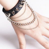 Black Layer Chain Studded Bracelet