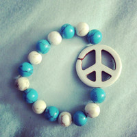 Peace blue and white beaded bracelet