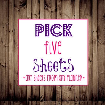 Editable-Pick any FIVE Sheets-Printable Planner, Budget Printable, Fitness, Menu Planner, Blog, Home Business, Cleaning, Daily Planner