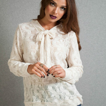 Lace blouse, egg shell loose top, bow tie lace blouse, long sleeves blouse