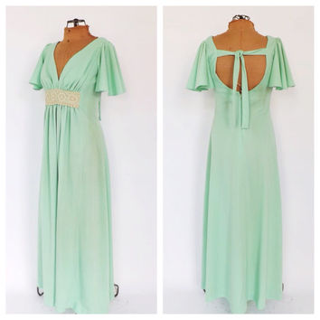 Vintage 1970s Pistachio Green Prom Gown Bridesmaid Romantic Fairy Princess Medieval Renaissance Dress Size Small Boho Goddess Gown Hippie