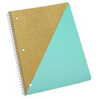 "Neon Glitz Spiral Notebook, College Ruled, 2 subject, 160pgs, 8.5"" x 11"" - Quad Panneling"