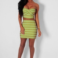 Giselle LUXE Neon Lime & Multicolour Bandage Two Piece Set | Pink Boutique