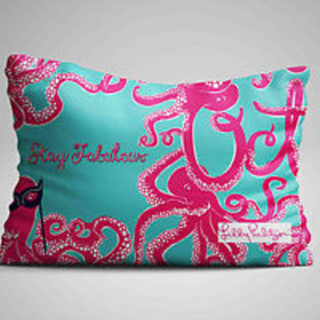 "Lilly Pulitzer Pink Octopus Logo Zippered Pillow Case 16""x 24"" - Two sides cover"