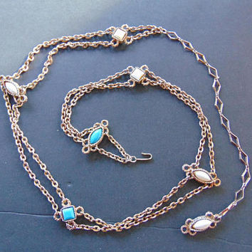Vintage long White and Turquoise Gems in Gold Tone Necklace with BackDrop