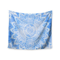 "Nika Martinez ""Boho Flower Mandala in Blue"" Aqua Wall Tapestry"