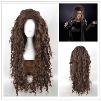 Movie Film Character Bellatrix Lestrange Long Brown Wavy Synthetic Wigs Heat Resistant Cosplay Costume Wig