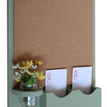 Cork Board Mail Organizer with Key Hooks & Mason Jar