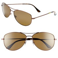Women's kate spade new york 'ally' 60mm polarized metal aviator sunglasses - Brown