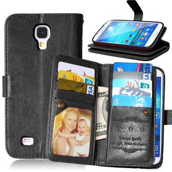 S4 Multi-function Wallet Case For Samsung Galaxy S4 I9500 Case Luxury PU Leather Flip Cover For Pouch Samsung S4 Coque 9 Cards