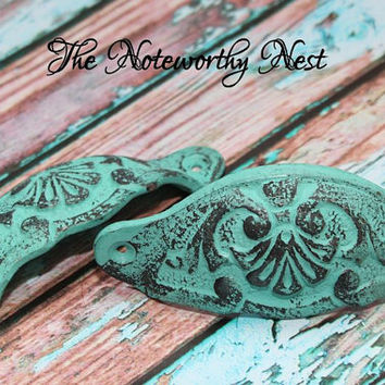 Knobs // Decorative knobs // drawer pulls // dresser knob // cabinet knob // verdigris knobs // aqua knobs // aqua decor // verdigris pulls