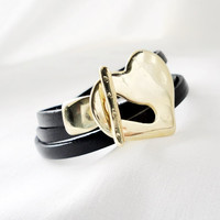 Women leather bracelet, heart bracelet, multi wrap women, Valentine's Day Jewelry For Her, gold and black