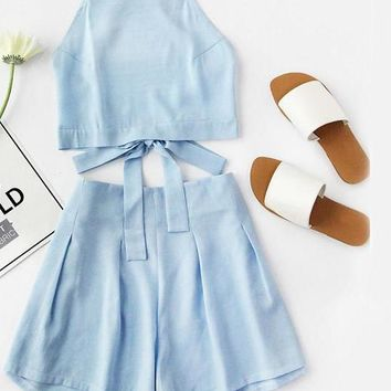Blue Women Two Piece Set Sexy Bow Tie Open Back Crop Top And Shorts Set Cute Ladies Beach