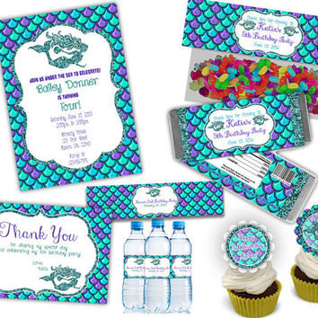 Complete Mermaid Birthday Party Set - Party Package - Mermaids - Faux Glitter - Under The Sea Birthday Kit - Girl Nautical Party Pack Purple