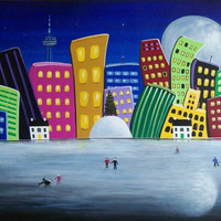 Hilly Meets Holiday Harbour 24x48 Large Toronto Winter Christmas Folk Art Painting