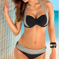 Black And Silver Halter Bra + Panty