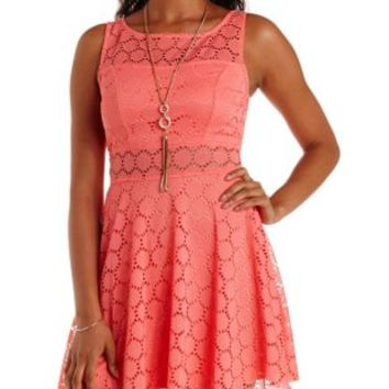 Coral Crochet Cut-Out Skater Dress by Charlotte Russe