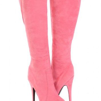 Coral Faux Suede AMIclubwear Knee High Platform Boots @ Amiclubwear Boots Catalog:women's winter boots,leather thigh high boots,black platform knee high boots,over the knee boots,Go Go boots,cowgirl boots,gladiator boots,womens dress boots,skirt boots,pin
