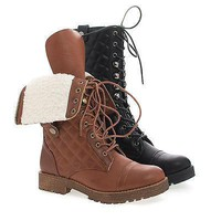 Rugged07 Chestnut Pu By Bamboo, Mid Calf Quilted Foldable Shaft Faux Shearling Military Boots